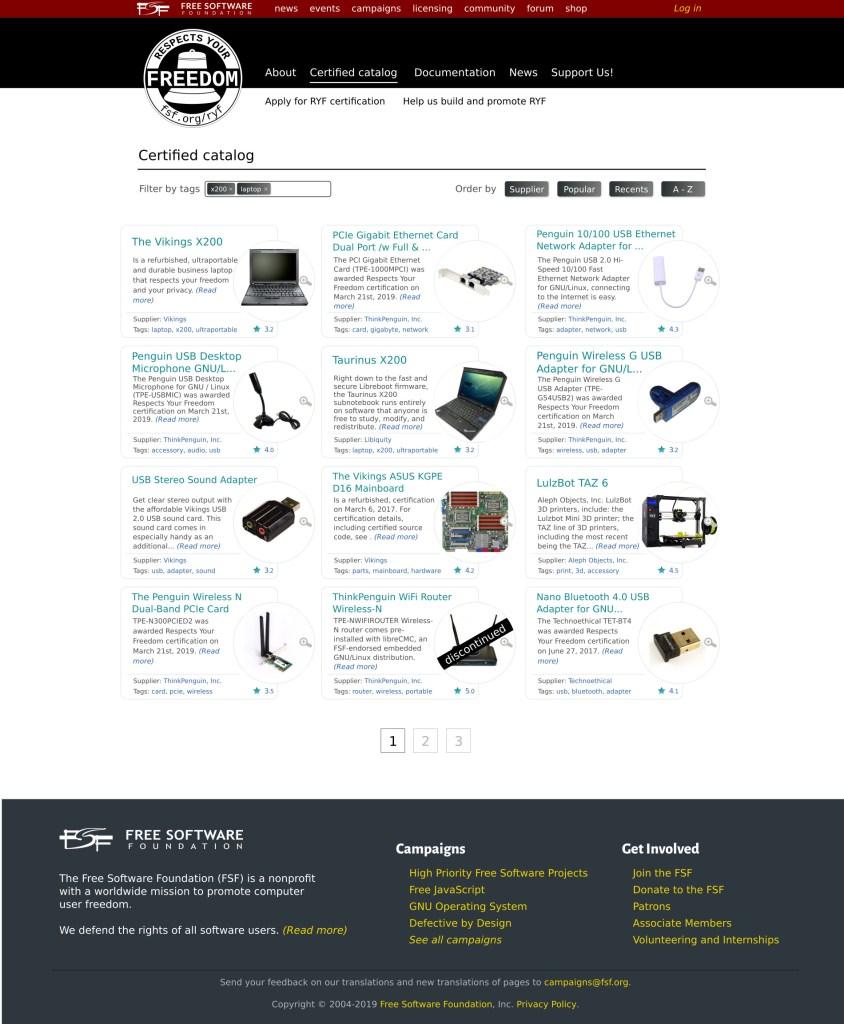 Prévia da página com lista de produtos certificados pela RYF.