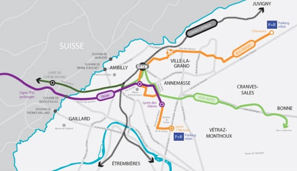 Annemasse relié à Genève et rappel sur l'histoire de la région