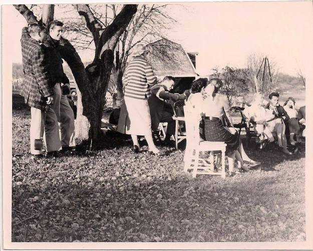 valiant thor and the crew from victor 1 at Howard and Connie Menger residence in 1958