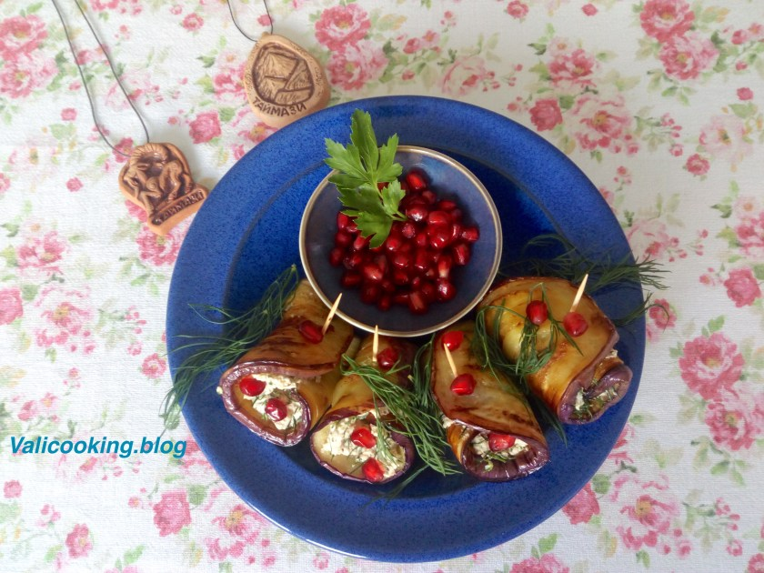 Aubergine rolls with walnuts recipe