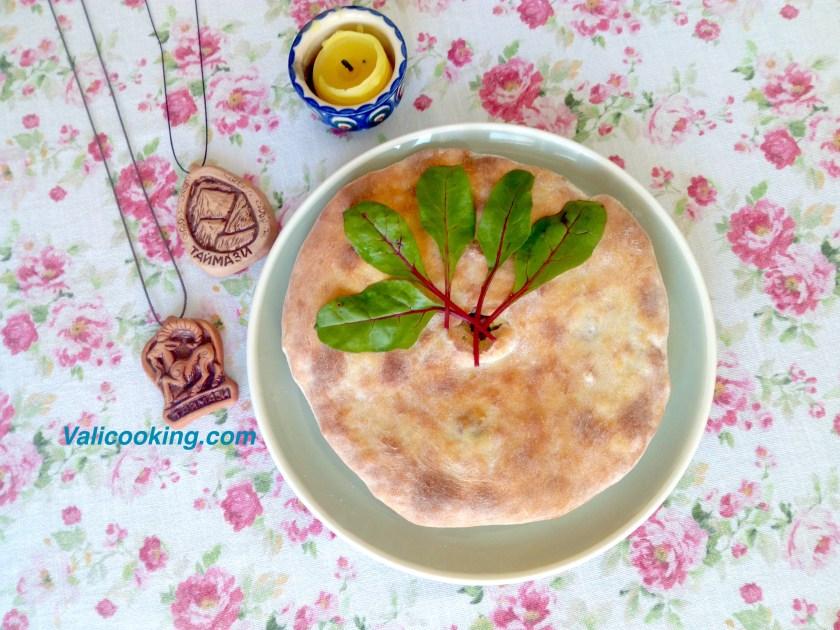 Ossetian pie Tsakharadzhin with beet greens