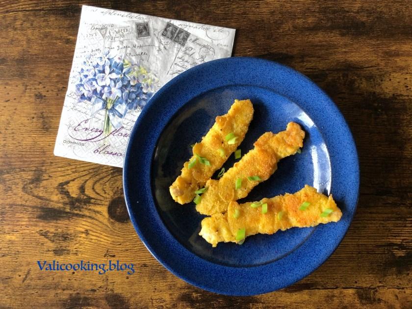 Chicken strips with polenta crust
