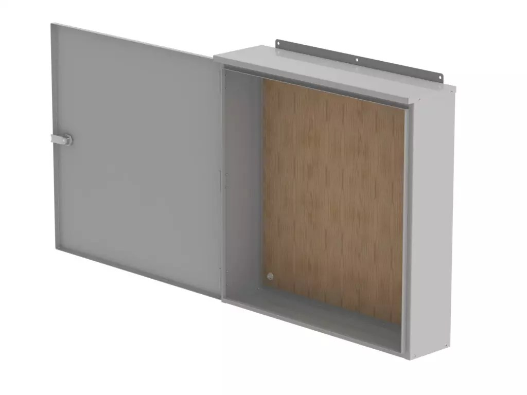 Empty wall mounted commercial enclosure with door open on a white. background.