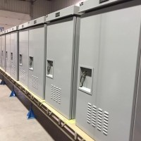 A row of free standing enclosures.