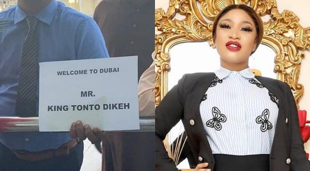 LOL! Man spotted in Dubai airport welcoming actress Tonto Dikeh as Mr King Tonto Dikeh