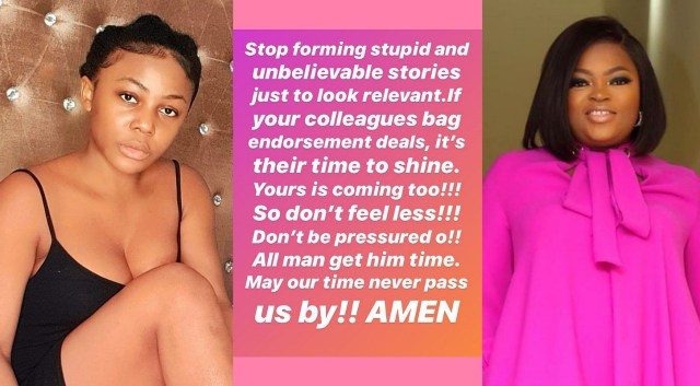 Stop forming stupid and unbelievable stories just to look relevant – Actress Funke Akindele indirectly tells Ifu Ennada