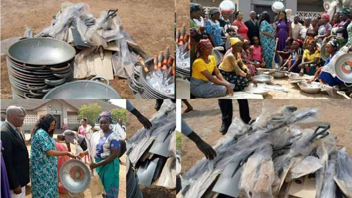 Nsukka LG Chairwoman, Hon Chinwe Ugwu empowers women with shovels, head pans, few weeks after giving out wheelbarrows on hire purchase to men