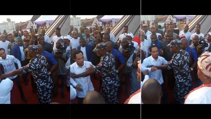 See the moment Prophet Odumeje was prevented from meeting Gov Ganduje at an event (video)