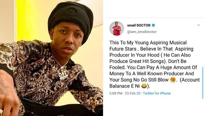 Dear young artistes, believe in that aspiring producer in your hood – Singer, Small Doctor
