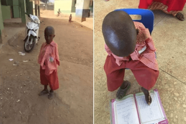 Meet 4-Year-Old Armless Nigerian Schoolboy Who Writes With His Toes