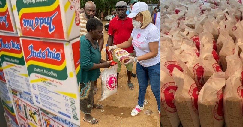 Hungry Nigerians under lockdown attack Tonto Dikeh while distributing Covid-19 relief materials
