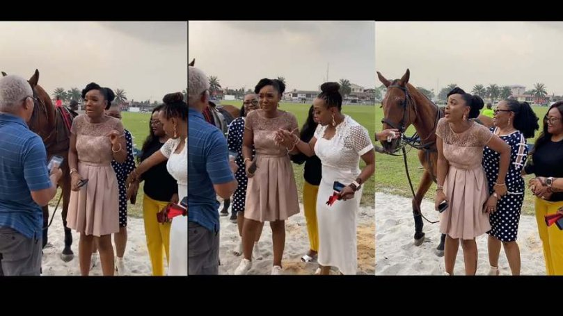 Hmm! We can't imagine seeing actress Chioma Akpotha afraid of taking picture with a horse (watch)