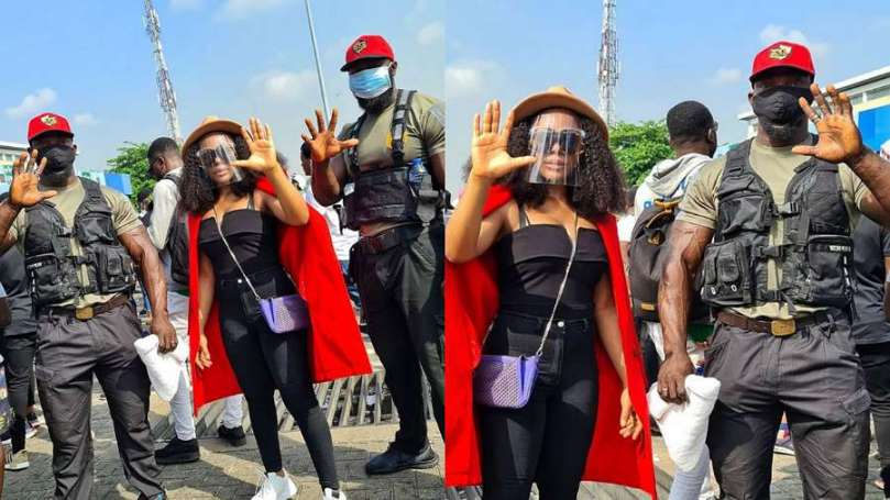 Fans trash BBNaija's Ifu Ennada for taking bouncers to #EndSARS protest, she reacts