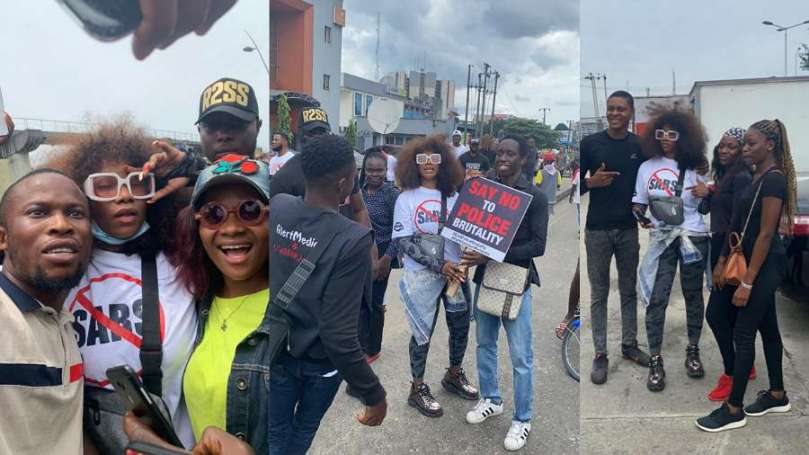 'Heroic Tacha' – Fans tweet as they hail BBNaija star for leading PH #EndSARS protest despite Wike's order