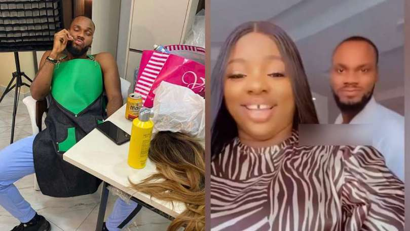 BBNaija's Prince reacts after Dorathy announced he's her official hairdresser