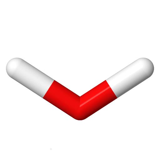 Valkemistin logo: V:n muotoinen vesimolekyylin malli.