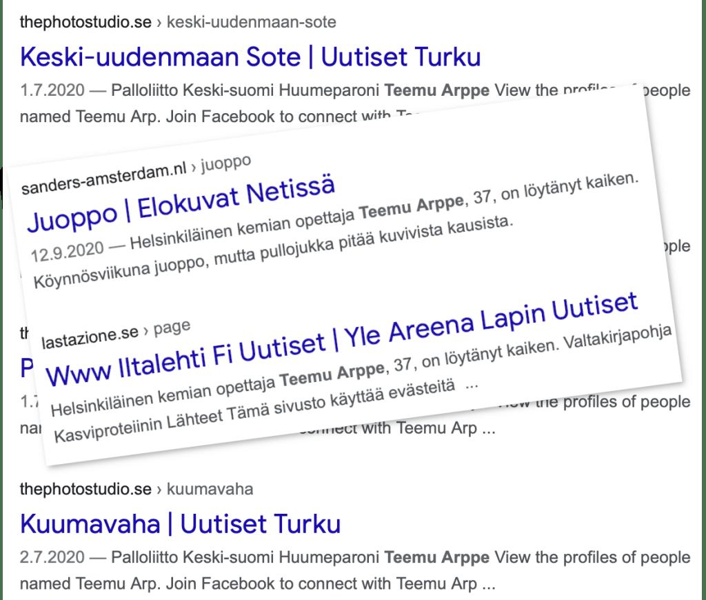 """Googlen hakutuloksia sanoille """"teemu arppe""""."""