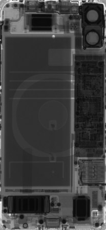 An X-ray of an iPhone 11.