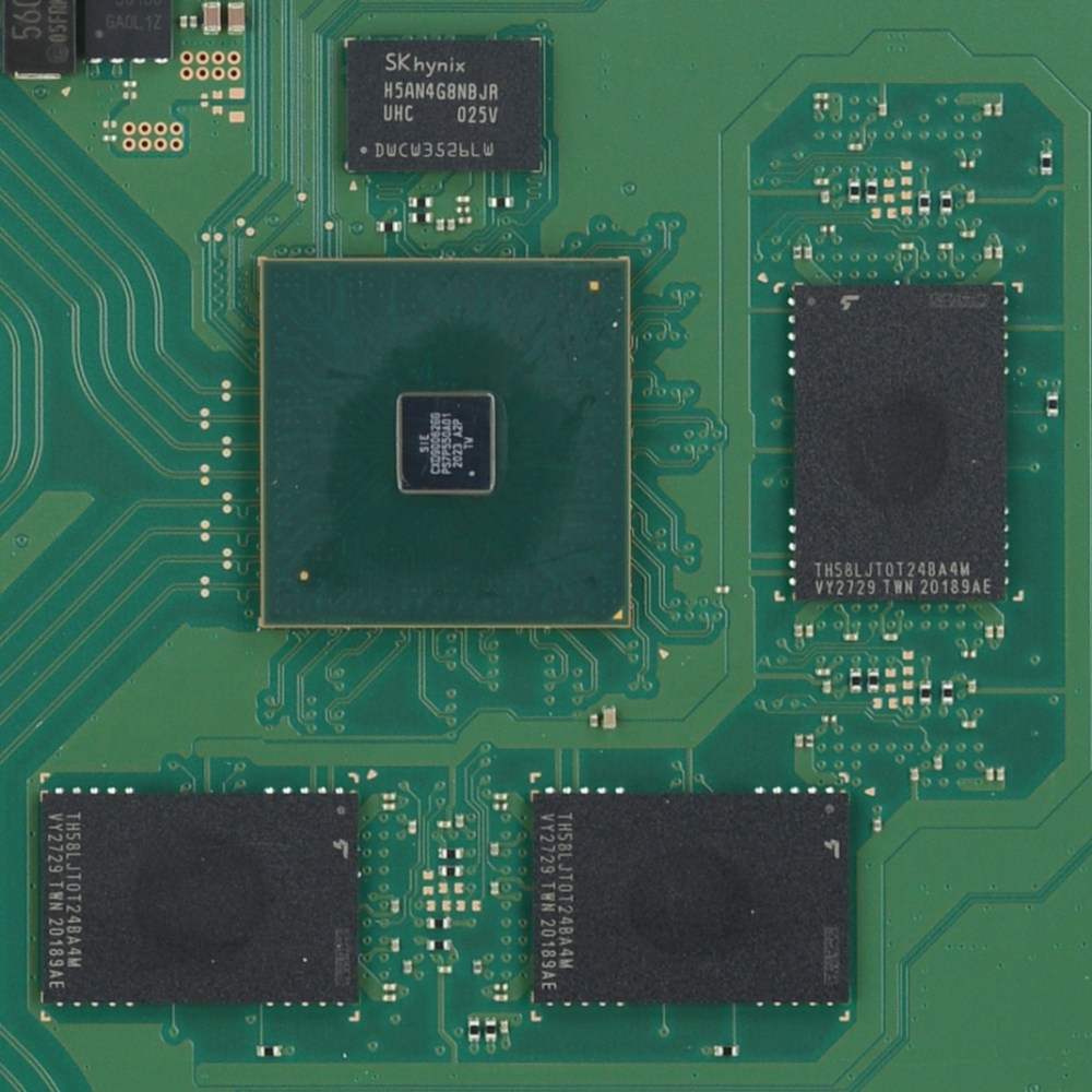 Close-up of PS5's soldered-on-board memory
