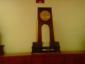 Sam Houston State's first NCAA Division I National Championship in the Athletic Department's office