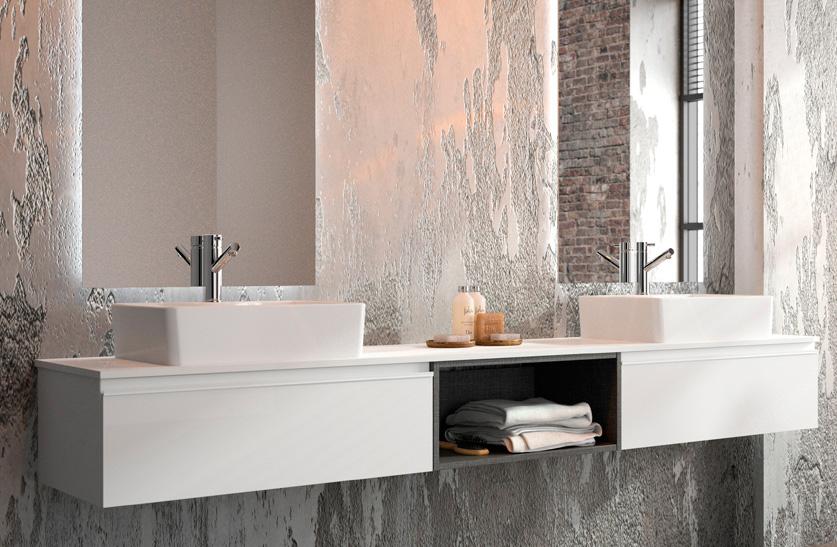 2 mobles spirit amb modul buit central blanc brillant i lavabos sensation