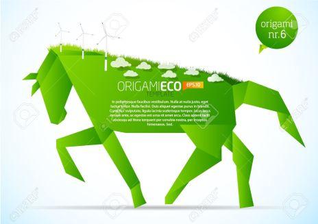 9498689-Green-origami-eco-horse-nr-6-Stock-Vector