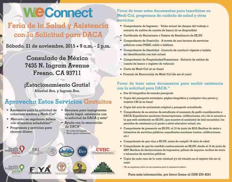 Feria de Salud y DACA en Fresno, 21 Noviembre 2015