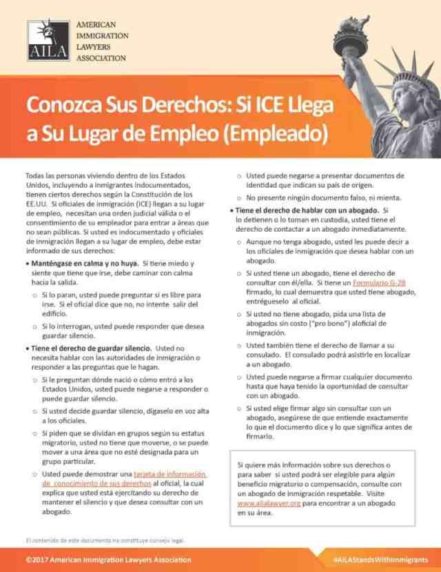 Si ICE Te Detiene en el Trabajo Guia Informativa