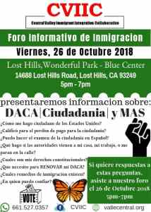 Foro Informativo de Inmigración en Lost Hills 26 de Octubre 2018 CVIIC