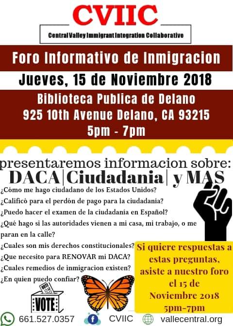 Foro Informativo de Inmigracion en Delano el Jueves 15 de Noviembre