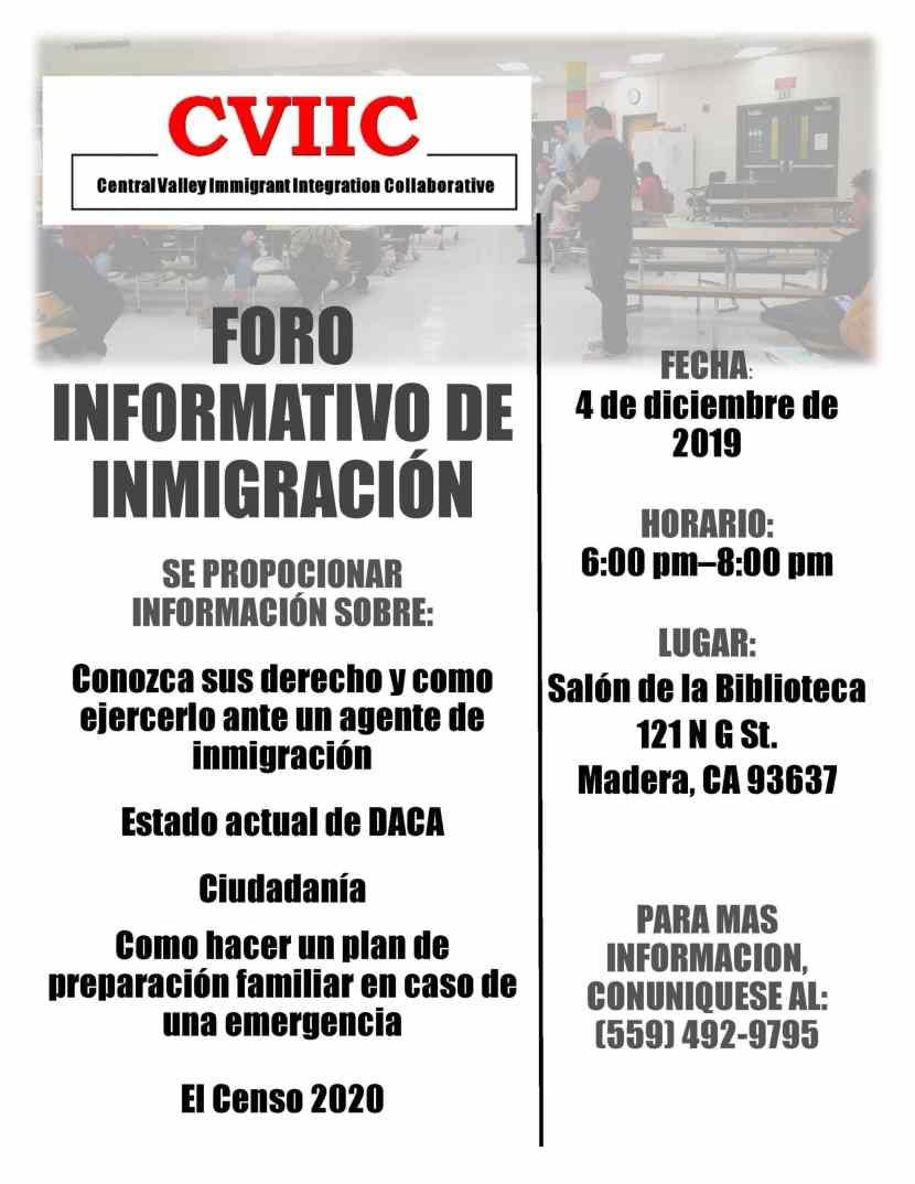 Foro Informativo de Inmigración en Madera 4 Diciembre 2019 CVIIC