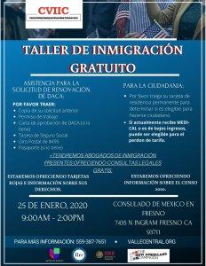 Taller de Ciudadanía y Renovación de DACA en Fresno 25 Enero 2020 CVIIC