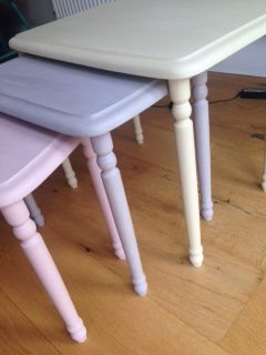 A few nests of tables, which are always good fun to do - all but the pink ones are happy in other peoples homes!