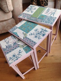 Pink nest of tables