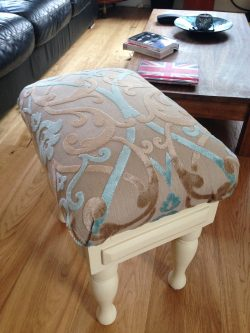 A couple of bits of reupholstering, the chair was my Grandads which I rubbed down too