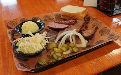 A brisket plate at The Smoking Oak in Mercedes.