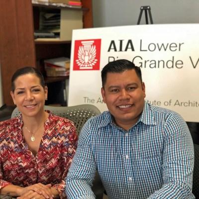Maria Sustaeta, LRGV-AIA executive director, and Sergio Lainez, president, at the nonprofit organization's office in Mercedes. (VBR)