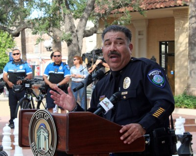 Brownsville Police Chief Orlando Rodriguez introduces a four-officer bike patrol at the opening of the downtown substation. (VBR)