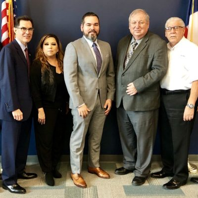 Mission EDC Board, left to right, Vice President Richard Hernandez, President S. David Deanda, Catherine Garcia, Mission EDC CEO Daniel Silva, Mayor Armando O'Caña, Mario Garza and Secretary Pete Jaramillo