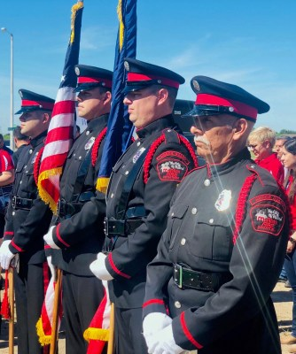 A unit from the McAllen Fire Deparment presents the colors at the groundbreaking ceremony. (Oskar Hernandez)