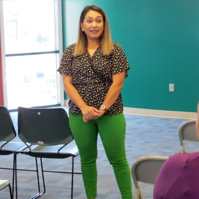 Oct. 1 at the South Texas College Library Rainbow Room in McAllen, VIDA career counselor Leslly Blancas discusses with VIDA students the importance of managing stress. .