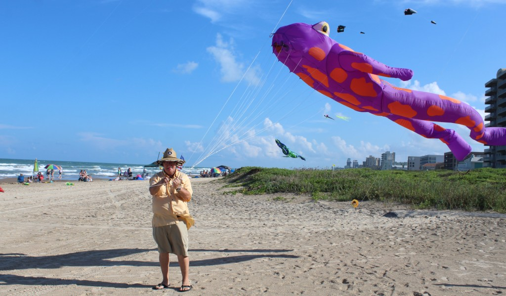 Bill Doan flies kites on the beach all year around.
