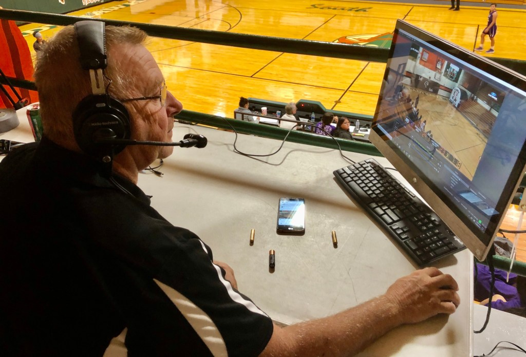 Joe Bowling prepares to broadcast a high school girls' game at Harlingen South High School on Rio Sports Live.