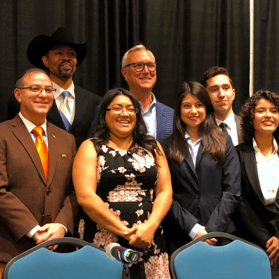 Candidates and students pose for a photo after the forum. Back row, Jack Daniel Foster Jr., Michael Cooper, Chris Bell, Jonah Riojas; front, Amanda Edwards, Victor Hugo Harris, Sema Hernandez, Karolina Vargas, Alexis Alvarado and Chloe Jerez.