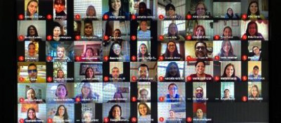 Ruben Hinojosa Elementary staff host a virtual baby shower on Google Meet for a coworker.