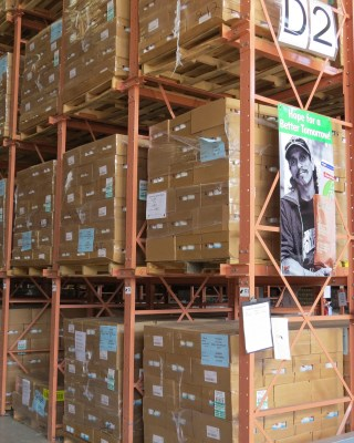 """Hope for a Better Tomorrow"" reads the poster on the Food Bank of the Rio Grande Valley's warehouse shelves. (VBR)"