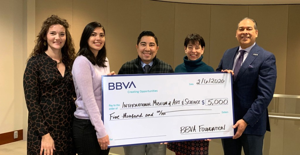 BBVA Foundation awards the IMAS $5,000 in support of daytime educational programming in 2020. Pictured earlier this year are IMAS Director of Development & Marketing Anastasia Perez, IMAS Director of Education Claudia Martinez Gray, BBVA VP of Community Relations Robert Rossel, IMAS Executive Director Ann Fortescue and BBVA Corporate Relations Manager Ernesto Sepulveda.