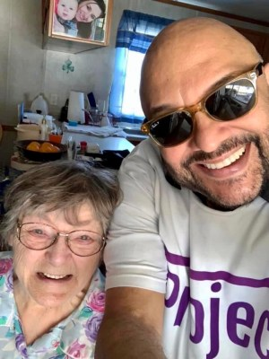Diana Marcottee is happy to see Johnny Llanes, the founder of Project COVID Care. (Courtesy)