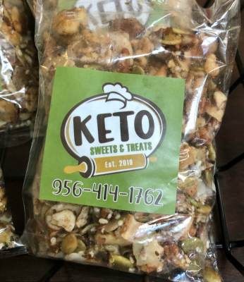 Nuts-based snacks in packages for sale at Keto Sweets & Treats.