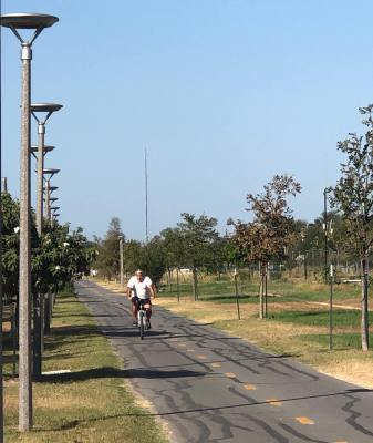 A cyclist enjoys the sunshine and safety of the Precinct 2 trail in San Juan.